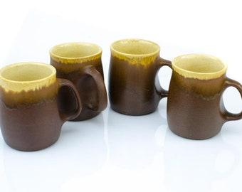 Laurentian Pottery Coffee Mugs, LP Pottery, Laurentian Art Pottery, Poterie Laurentienne, SET of FOUR