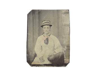 Vintage Tintype Photo of Woman with Hat and Painted Details / Victorian Era Tintype Photograph