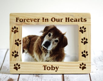 Pet Memorial Frame - Personalized- Forever In Our Hearts- Wood Burned Frame- Pet Picture Frame