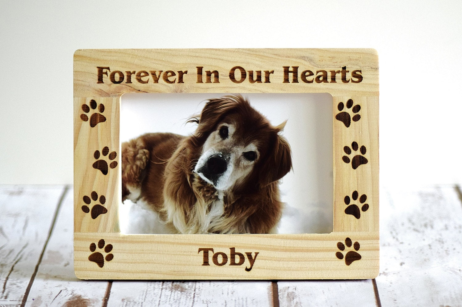 Pet Memorial Frame Personalized Forever In Our Hearts Wood