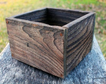 "Square Farm Planters Box 4""L, 5""L, 6""L and 8""L(5"" - 5.75""H - Tall), Centerpiece, Wooden Box, Herb, Primitive Box, Garden, Storage, Succulent"