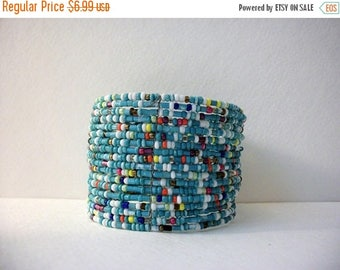 ON SALE Retro Colorful Boho Opens Up Memory Wire Seed Beads Cuff 5917