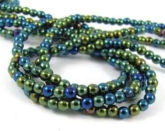 Iris Green 3mm  Round Czech Glass  Beads 100pc #506