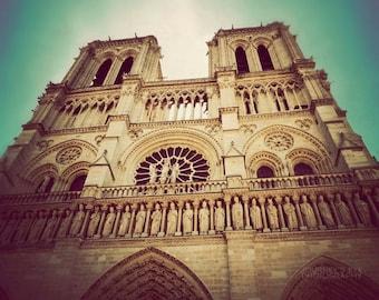 Notre Dame Cathedral - Paris photography, fine art photograph, turquoise, architecture, Paris art print