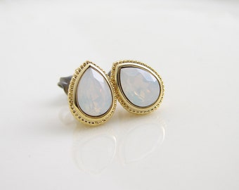 White Opal Teardrop Stud Earrings with Titanium Post ~ Swarovski White Opal ~ Easter Egg ~ Bridesmaid Gift ~ Simple Modern Jewelry