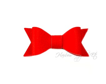 Red Faux Leather Bows 2-1/2 inches - Red Leather Bow, Red Leather Hair, Red Faux Leather, Red Leather Bow Headband, Red Leather Bow Tie