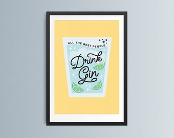 Gin Art Print, Gin Home Decor, Gin Lover Kitchen Decor, Mid Century Style, Gin Birthday Gift for Her, Gin Lover Gift, Couples Gift