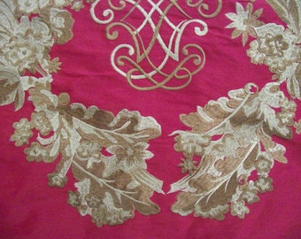 Rare Mulberry Home (Lee Joffa) Trinity Red Silk Gold Embroidered Crest Fabric  0.58 x 1.40 m