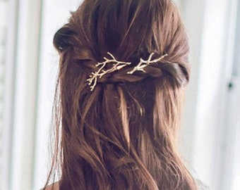 Gold, Silver Tree Branches Hairpin, Hair clip
