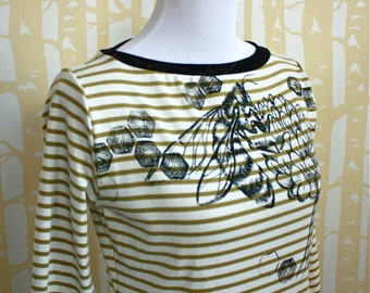 Honeybee Blouse, choose your size in hand printed American-grown organic cotton