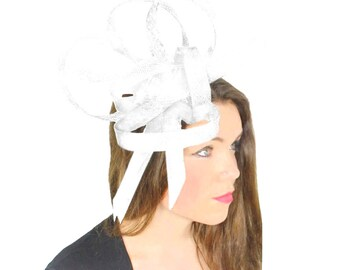 Huricane White Fascinator Fascinator Hat for Weddings, Races, and Special Events With Headband