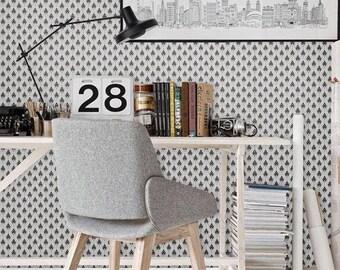 Self adhesive vinyl temporary removable wallpaper, wall decal - Diamond black&white pattern - 055