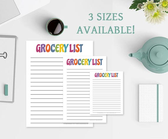 Colorful Grocery List Notepad
