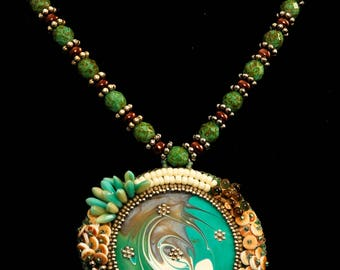 Enamel Swirl Bead Embroidered Necklace