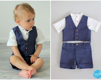 3 teiliges Outfit: kurze Hose + weißes kurzarm Leinenhemd + Weste Leinen - Baby Jungen Anzug Ringträger Taufanzug Blumenkinder Hochzeit