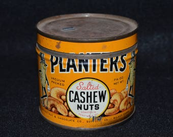 Planters Cashew Nuts Tin, Planters Cashews Can, Vintage Keywind Tin, Planters Salted Cashews Nuts Can, Collectible Tins, Planters Nut Can