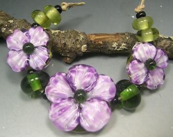 HANDMADE LAMPWORK Beads SET Sculpted Flowers violet purple Donna Millard sra summer spring flower garden
