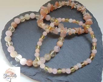 Happiness Blend Bead Beaded Stretch Elasticated Bracelet ~ Gemstone Crystal Healing ~ Citrine, Sunstone & Rose Quartz
