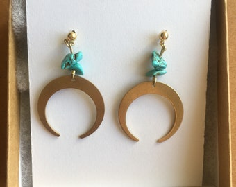 Brass Crescent Earrings with Turquoise