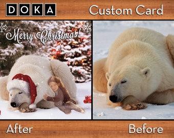 Christmas Card Photoshop Edit - Photo Manipulation - FULLY CUSTOM - Photo Editing - Photo Retouching - Christmas Setting Manipulation Edit
