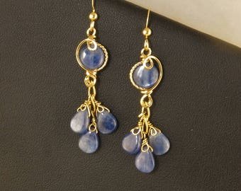 Blue Kyanite Gemstone Gold Dangle Earrings, Unique Wire Wrapped Long Blue Gemstone Earrings, Sky Blue Teardrop Cluster Earrings
