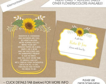 Sunflower display shower insert card and label set, no wrap baby shower, no wrap bridal shower, no wrapping paper shower do not wrap request