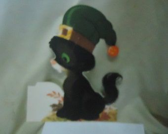 Vintage Cat Dressed For Halloween Double Sided Cardboard Cut Out, collectable