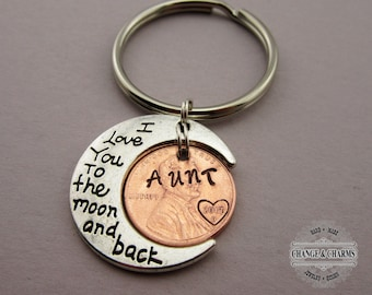 I love you to the Moon and Back Aunt Penny Keychain, Moon Keychain, Penny Keychain, Custom Keychain, Aunt Keychain, Personalized Gift, Gift