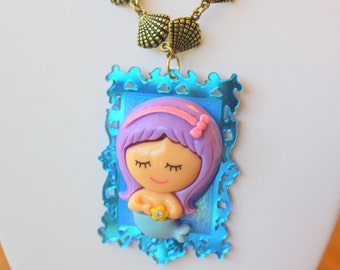 Mermaid Necklace Mermaid Jewelry Kawaii Necklace Kawaii Jewelry Laser Cut Necklace Kitsch Necklace Fairy Kei Necklace Ocean Necklace Resin