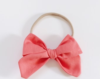 Watermelon Pink Fabric Bow Headband OR Clip