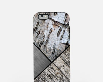 Birch Bark and Brushed Silver Metal Graphic Tough Case for iPhone, Nature and Industrial Mix Theme Device Case