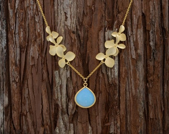 Opal Orchid Flower Necklace, Wedding Jewelry, Bridesmaid Jewelry, Mother's Day, Orchid Petal Necklace, Graduation Gift