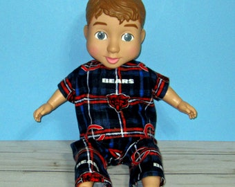 """Wonder Crew Outfit, Doll Clothes,Football Pajama Set, 14""""  or 15"""" Doll Clothes, Boy Doll Clothes, Will, James, Erik, Marco"""