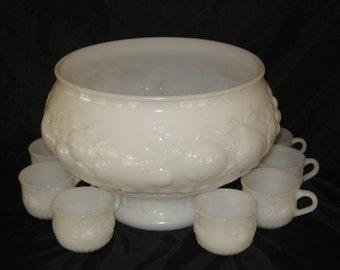 White Milk Glass Punch Bowl Set
