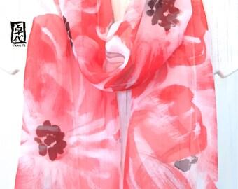 Hand painted Silk Scarf, Chiffon scarf, Japan Scarf, Red Floral scarf, Red and Gray Scarf, Red Evening Primrose, Takuyo, Made to order