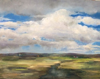 Storm Clouds, Rain, Open Fields, Stream, Gixlee Print of Original Oil Painting, Filtered Sunlight.