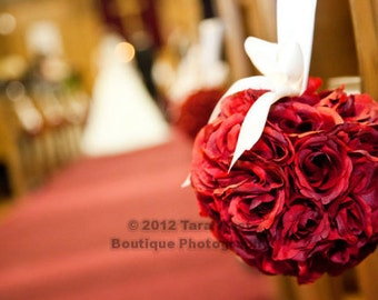 SALE Red Rose Pomander with Ivory Ribbon, More Colours Available