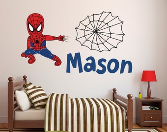 Spiderman Decal Etsy - Superhero wall decals for boys