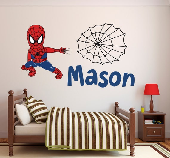 Spiderman Wall Decal Personalized Name Wall Decal Spider