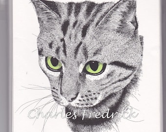 Tabby Cat Note Cards With Green Eyes