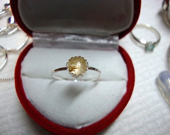 Golden Rutile Ring - reclaimed recycled .925 sterling silver  - custom made in your size-USA- Natural gemstone 6mm rutilated quartz stacking