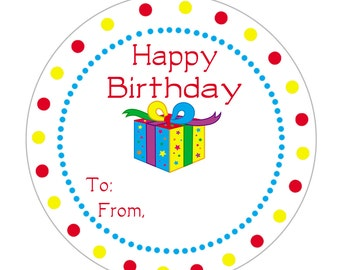 24 STICKERS, To From Birthday Stickers, Personalized Birthday Stickers, Kids Gift TagsKids Stickers, Party Favors, Birthday Favor (115A)