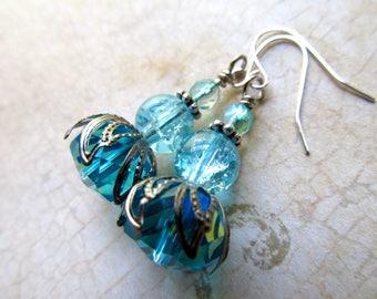 Art Deco Earrings Silver Art Nouveau Earrings 1920s Earrings Steampunk Earrings Blue and Silver Dangle Earrings - Azure