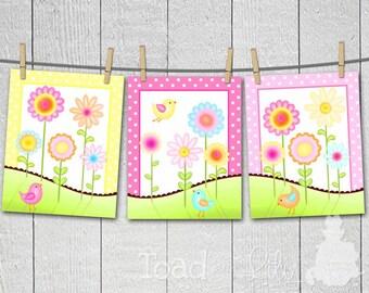 Set of 3 Sweet Meadow Birdies and Flowers Bedroom 8x10 Art Prints