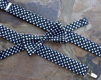 Suspenders and Bow tie set,Black and white hearts suspenders and bow tie, suspenders set,black and white hearts