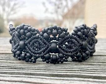 SALE Micro-Macrame Beaded Cuff Bracelet - Matte Black