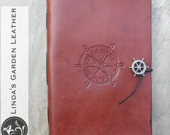 Handmade Leather Ship's Wheel Journal or Sketchbook