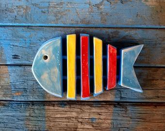 Skeleton wall fish, Fish bone wall art, Colorful ceramic fish, Fish skeleton, Coastal Decor Indoor, Beach house fish decor, Lake house decor