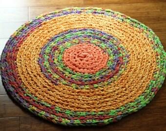 Round Rug Orange, Yellow and Green Multicolored Round Rag Rug Nursery Rug Mandala Rug Recycled Textiles Memory Rug READY TO SHIP