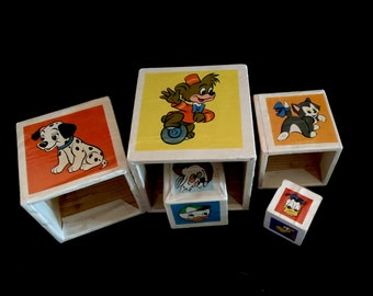 CLEARANCE SALE Disney Stacking Blocks, Wood Building Blocks, Disney Nesting Blocks, Made in West Germany, 1960s